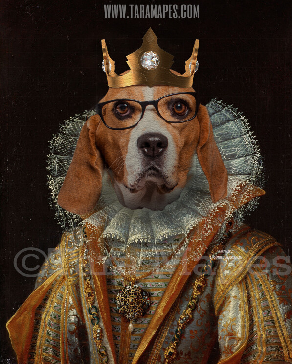 Royal Pet Portrait QUEEN Body PSD Template- Pet Painting Portrait Body 13 - Layered PSD  Digital Background Backdrop