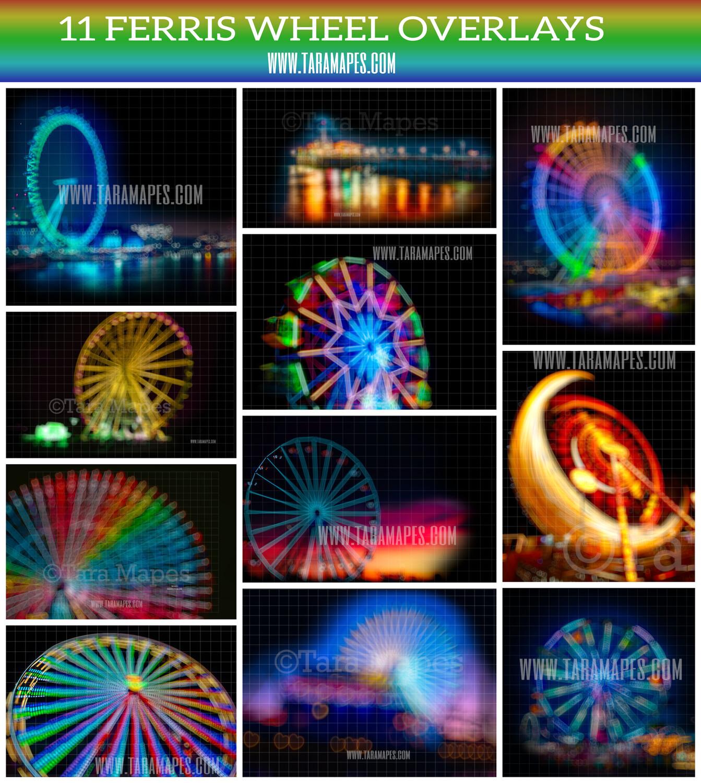 11 Ferris Wheel Bokeh Heart Overlays - Rainbow Ferris Wheel - Fair - Circus - Blurred Background Overlays