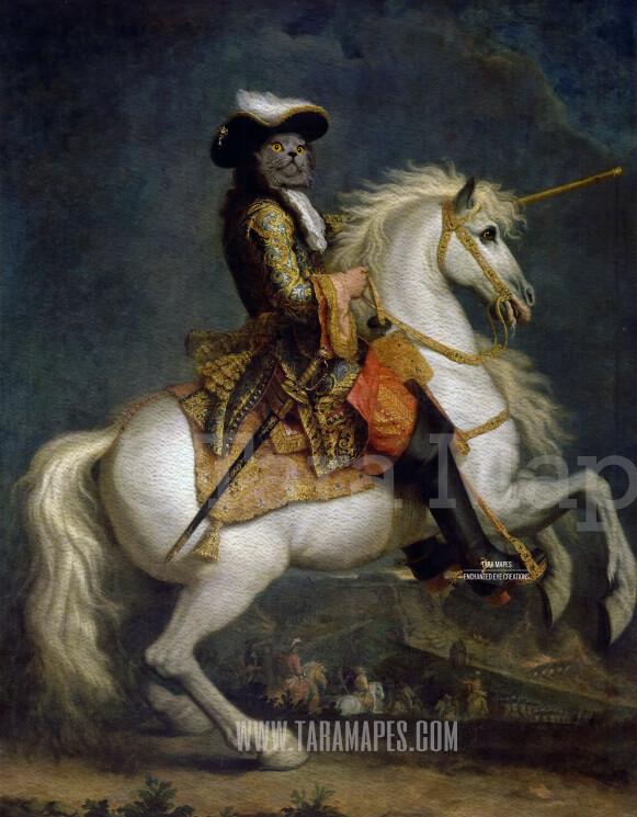 Royal Pet Portrait KING Body on Horse Layered PSD Template- Pet Painting Portrait Body 17-- Layered PSD  Digital Background Backdrop