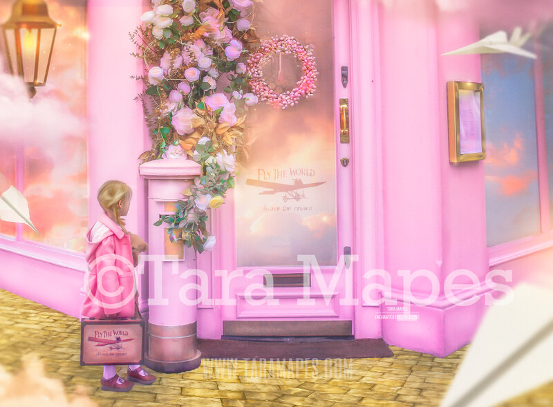 Fly the World - Magical Pink Building - London Background - Digital Background Backdrop