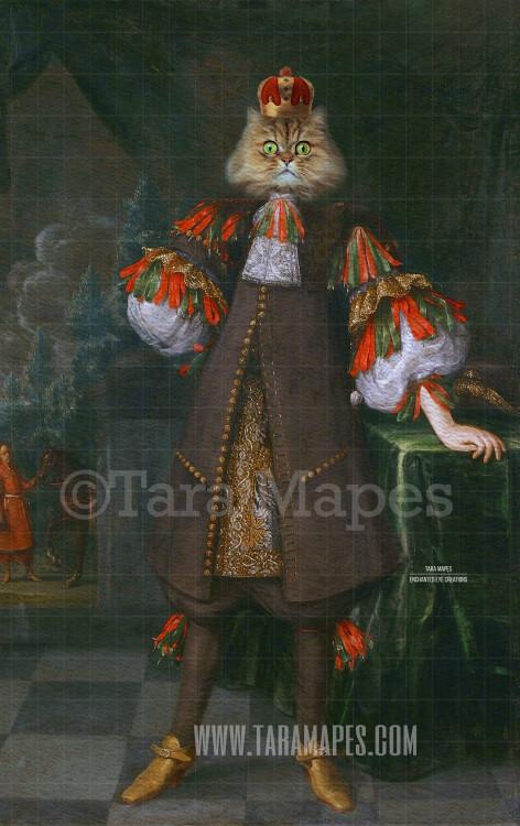 Royal Pet Portrait KING Body Layered PSD Template- Pet Painting Portrait Body 19-- Layered PSD  Digital Background Backdrop