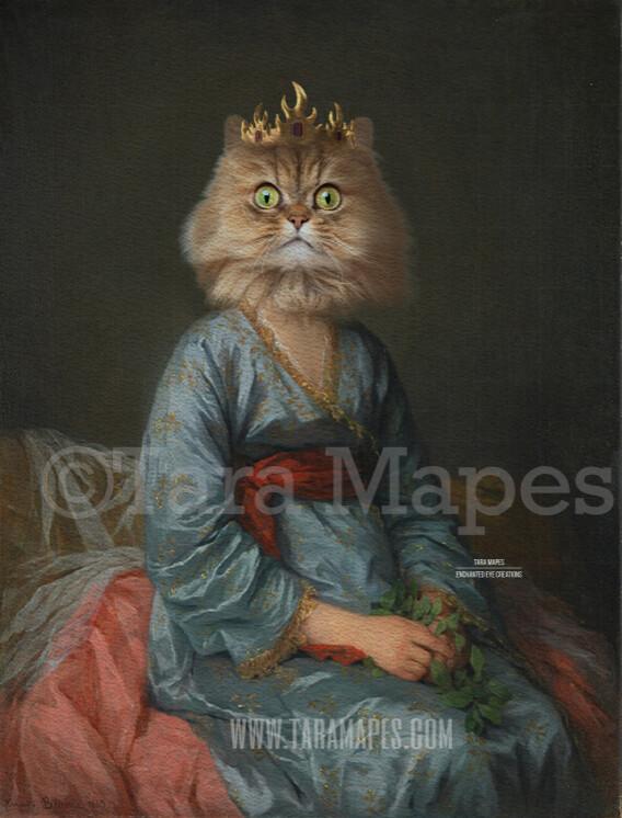 Pet Portrait PSD Template - Pet Painting Portrait Girl Body 11 - Layered PSD Digital Background Backdrop