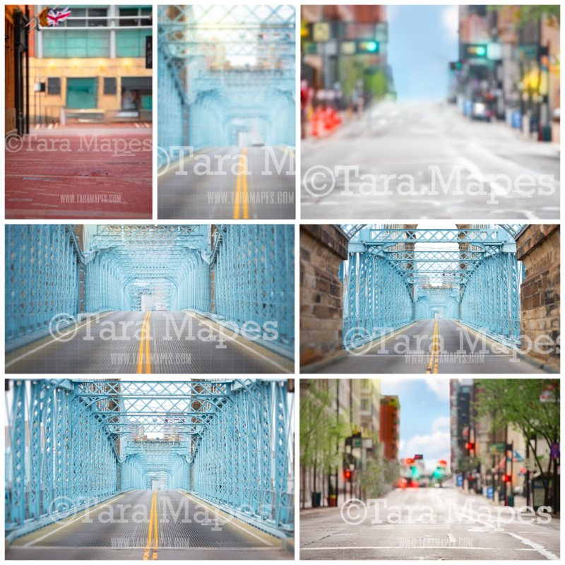 7 PACK of City Landscapes: City Street, City Alley, City Bridge Digital Background Backdrops - Colorful City with Traffic Lights Street, Alley and Bridge  for Portraits Digital Background