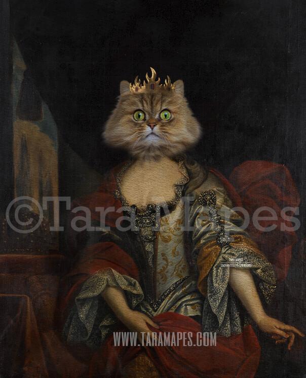 Royal Pet Portrait QUEEN Body PSD Template- Pet Painting Portrait Body 17 - Layered PSD  Digital Background Backdrop