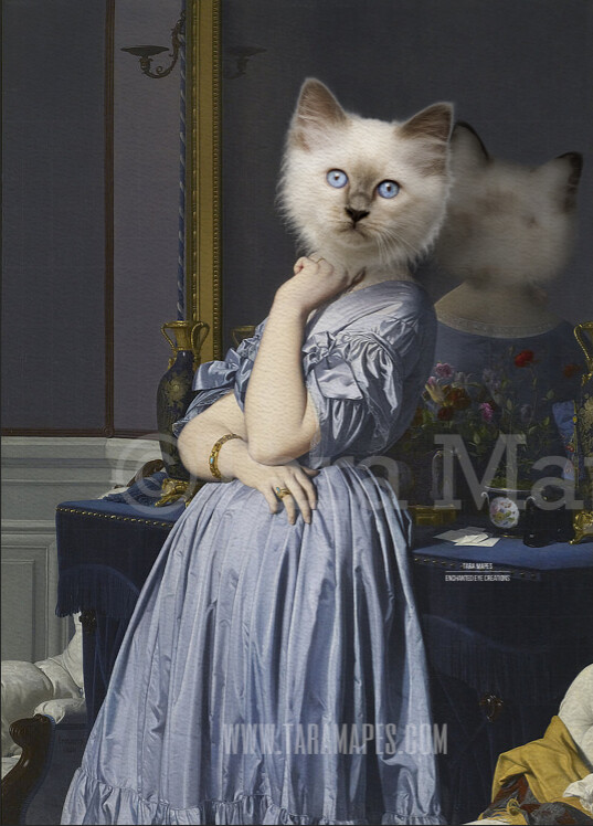 Pet Portrait Female Body PSD Template- Pet Painting Portrait Body 28- Layered PSD  Digital Background Backdrop