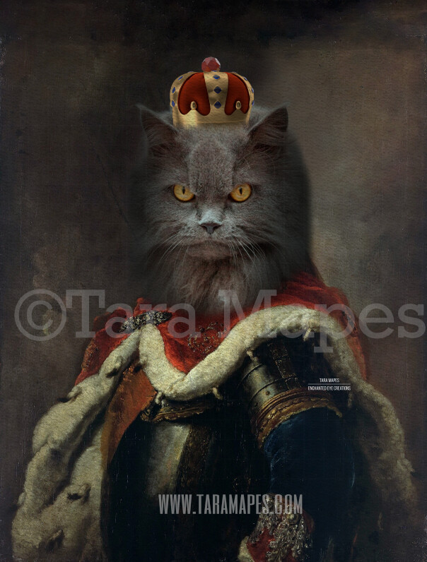 Royal Pet Portrait KING Body Layered PSD Template- Pet Painting Portrait Body 21-- Layered PSD  Digital Background Backdrop