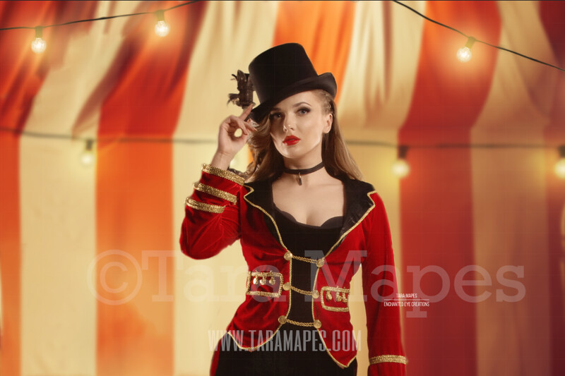 Circus Tent - Circus Tent with Lights Close Up Portrait Background - Vintage Circus Digital Background by Tara Mapes
