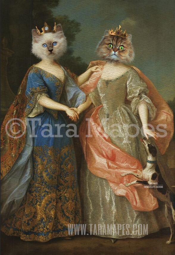 Pet Portrait Female Body PSD Template- Sisters Pet Painting Portrait Body 29- Layered PSD  Digital Background Backdrop