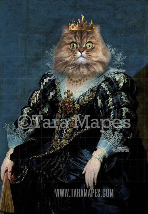 Royal Pet Portrait QUEEN Body PSD Template- Pet Painting Portrait Body 20 - Layered PSD  Digital Background Backdrop