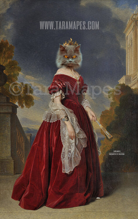 Royal Pet Portrait QUEEN Body PSD Template- Pet Painting Portrait Body 23 - Layered PSD  Digital Background Backdrop