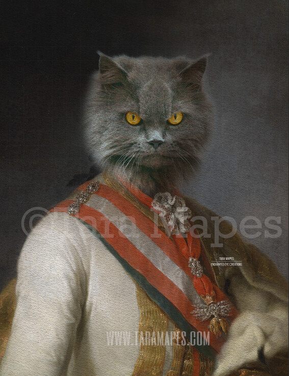Pet Portrait PSD Template - Pet Painting Portrait Body 69 - Layered PSD Digital Background Backdrop