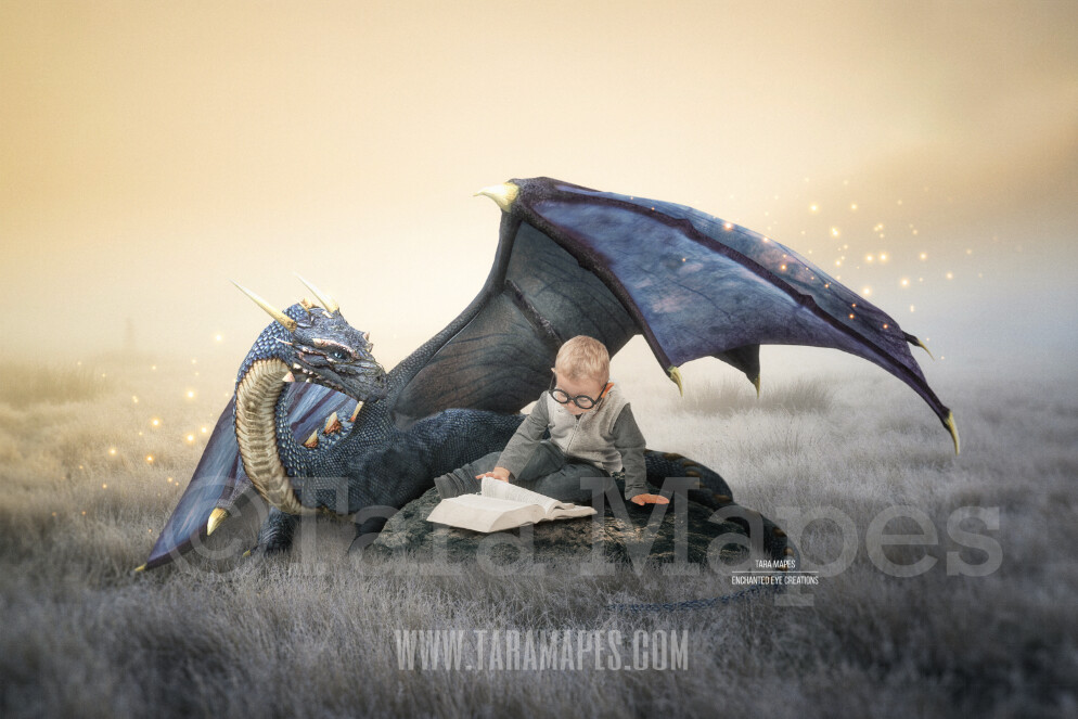 Dragon Reading a Book - Dragon in Field- Magical Dragon  Digital Background / Backdrop