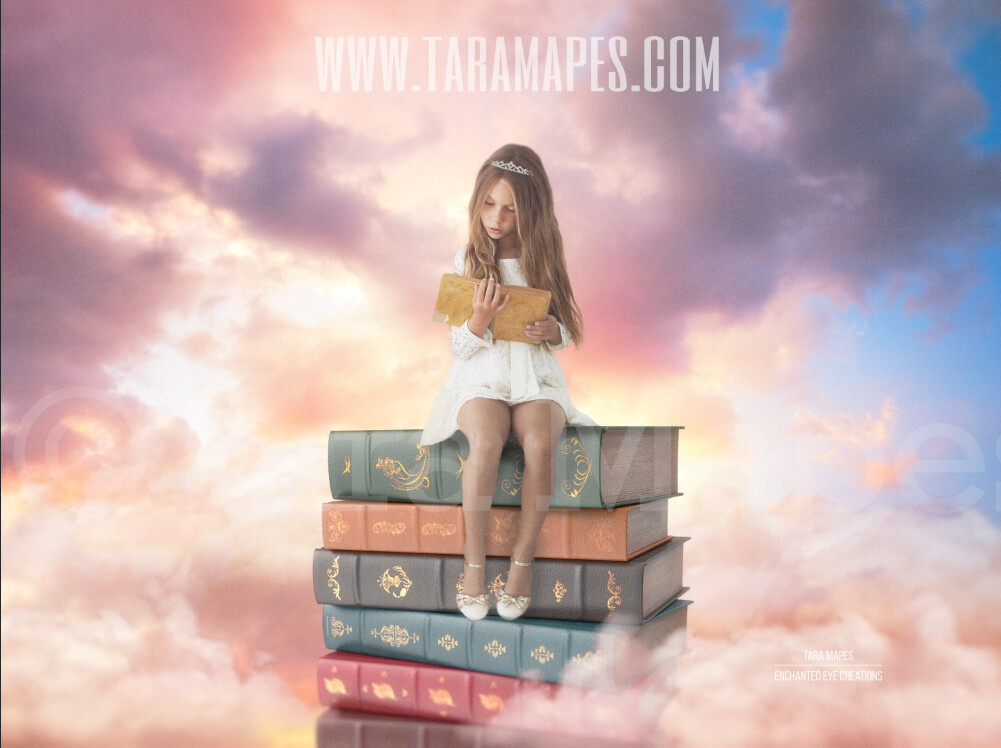 Stack of Books in Sky - Magical World - Book Lover- Books in Colorful Sky - Dreamy Creamy Whimsical - Digital Background
