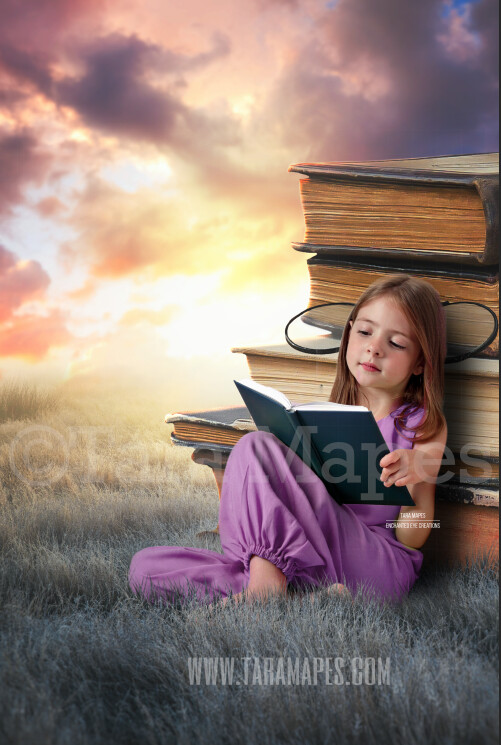 Stacks of Books in Field - Books in Dream World Colorful Sky - Book Lover - Dreamy Creamy Whimsical - Digital Background