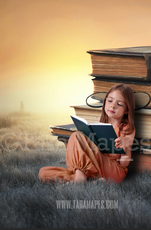 Stacks of Books in Field - Books in Dream World - Book Lover - Dreamy Creamy Whimsical - Digital Background