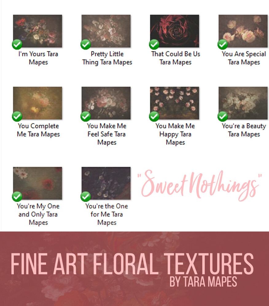 10 Old Masters Floral Textures -Floral Backdrops - Digital Backgrounds - SWEET NOTHINGS Photoshop Overlays by Tara Mapes