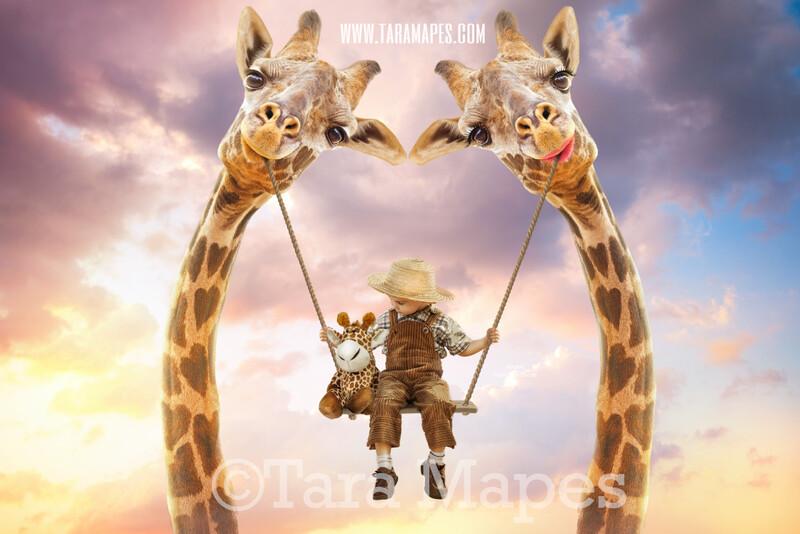 Giraffe Swing- Whimsical Pair of Giraffes - Giraffe Couple in Sky holding Swing - Digital Background - Giraffe in Clouds Digital Background