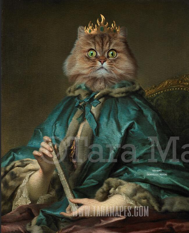 Royal Pet Portrait QUEEN Body PSD Template- Pet Painting Portrait Body 25 - Layered PSD  Digital Background Backdrop