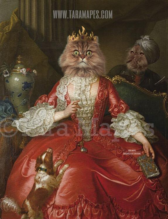 Royal Pet Portrait QUEEN Body PSD Template- Pet Painting Portrait Body 26 - Layered PSD  Digital Background Backdrop