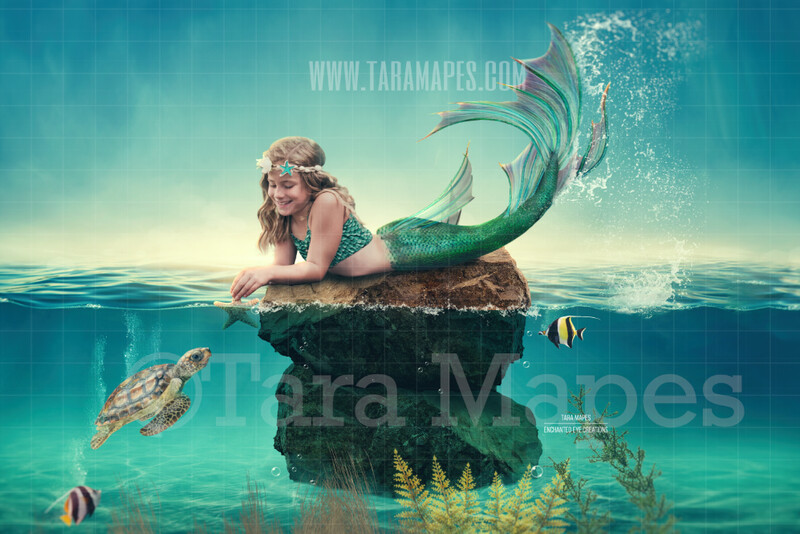 Mermaid Rock in Ocean - Rock in Ocean - Mermaid Scene- Whimsical Mermaid Scene Digital Background