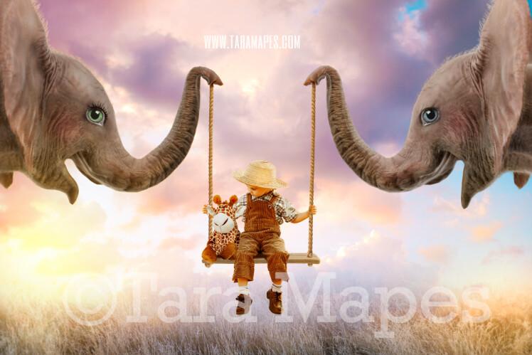 Elephant Swing- Whimsical Pair of Elephants - Elephant Couple holding Swing - Digital Background - Elephants in Whimsical Scene Digital Background