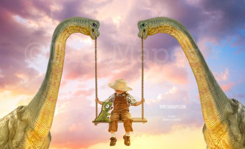 Dinosaur Swing- Whimsical Pair of Dinosaurs - Dino Couple holding Swing - Digital Background - Dinosaurss in Whimsical Scene Digital Background