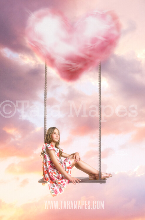 Heart Swing- Whimsical Heart Swing in Clouds - Digital Background JPG - Soft Creamy Magical Heart Scene Digital Background