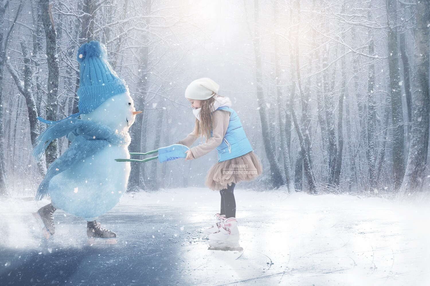 Snowman Iceskating -Snowman Ice Skating -Winter Snowy Scene- Separate Snow Overlay - Christmas Digital Background Backdrop