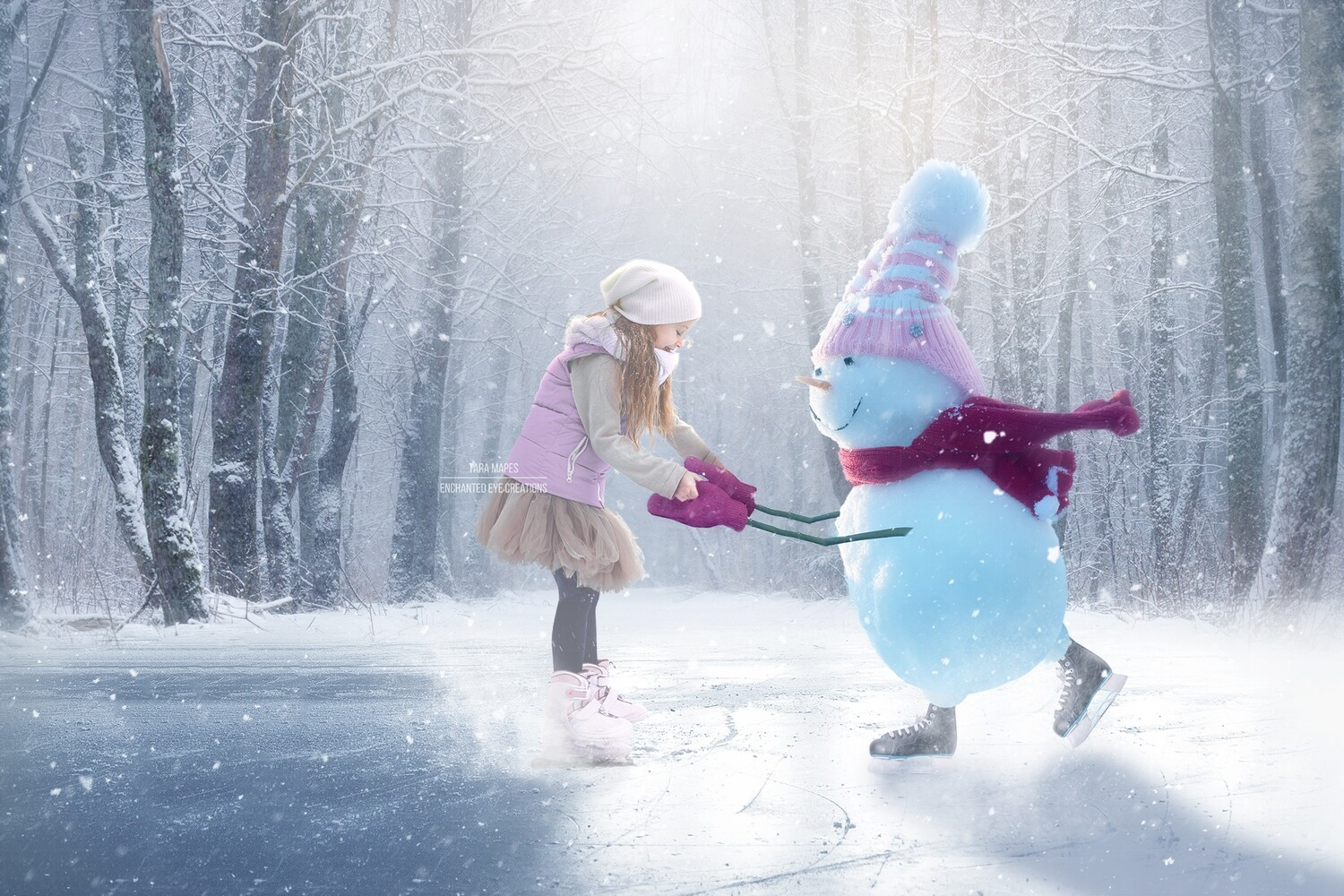 Snowgirl Iceskating -Snowman Ice Skating -Winter Snowy Scene- Separate Snow Overlay - Christmas Digital Background Backdrop