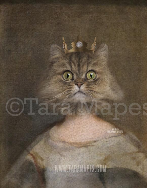 Royal Pet Portrait QUEEN Body PSD Template- Pet Painting Portrait Body 29 - Layered PSD  Digital Background Backdrop
