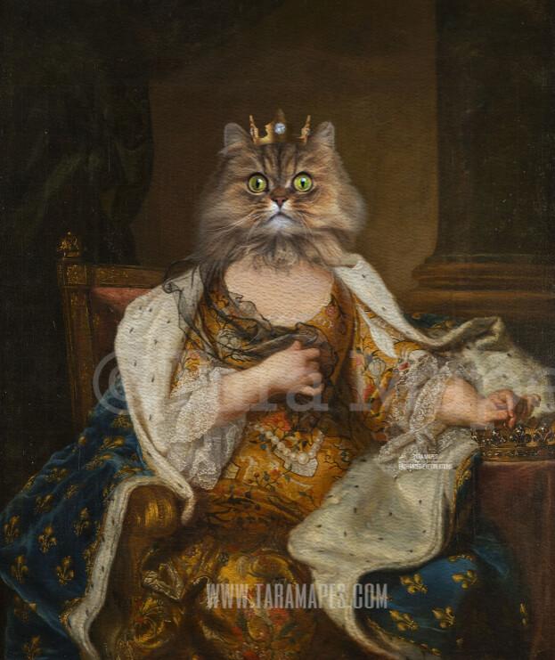 Royal Pet Portrait QUEEN Body PSD Template- Pet Painting Portrait Body 34 - Layered PSD  Digital Background Backdrop