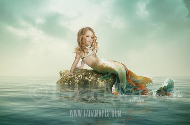 Mermaid Rock in Ocean - Rock in Ocean Layered PSD - Mermaid Scene- Whimsical Mermaid Scene Digital Background