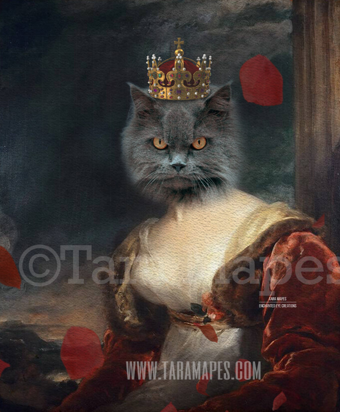 Royal Pet Portrait QUEEN Body PSD Template- Pet Painting Portrait Body 38 - Layered PSD  Digital Background Backdrop