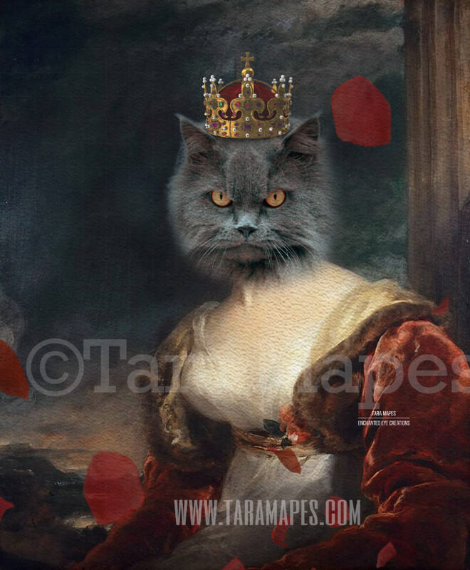 Royal Pet Portrait QUEEN Body PSD Template- Pet Painting Portrait Body 38 - Layered PSD  Digital Background Backdrop