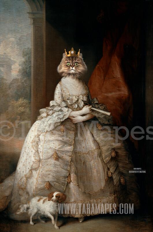 Royal Pet Portrait QUEEN Body PSD Template- Pet Painting Portrait Body 41 - Layered PSD  Digital Background Backdrop
