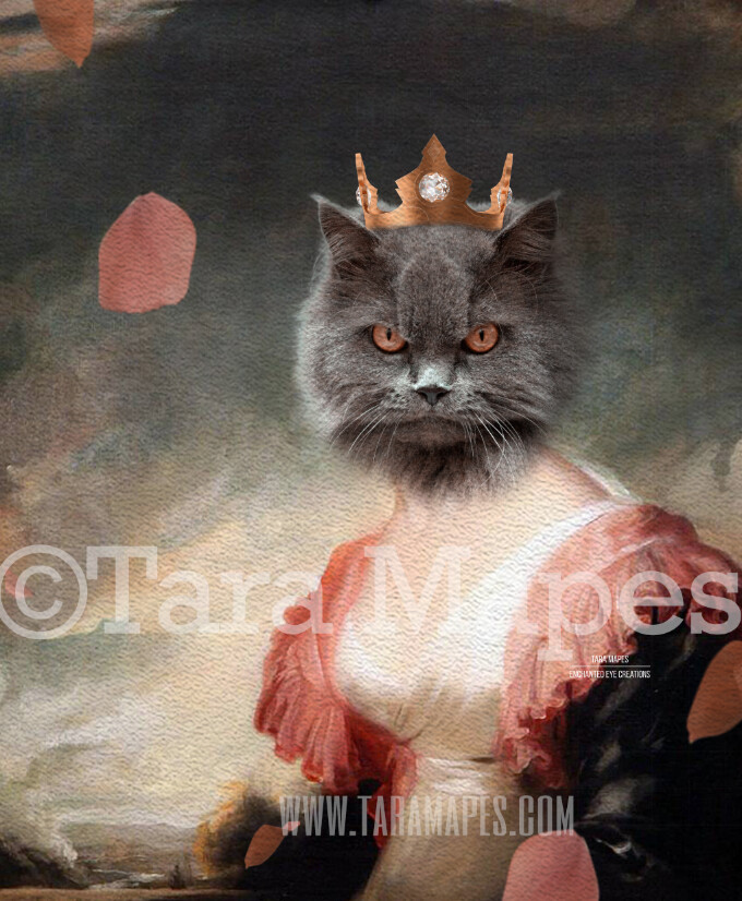Royal Pet Portrait QUEEN Body PSD Template- Pet Painting Portrait Body 43 - Layered PSD  Digital Background Backdrop