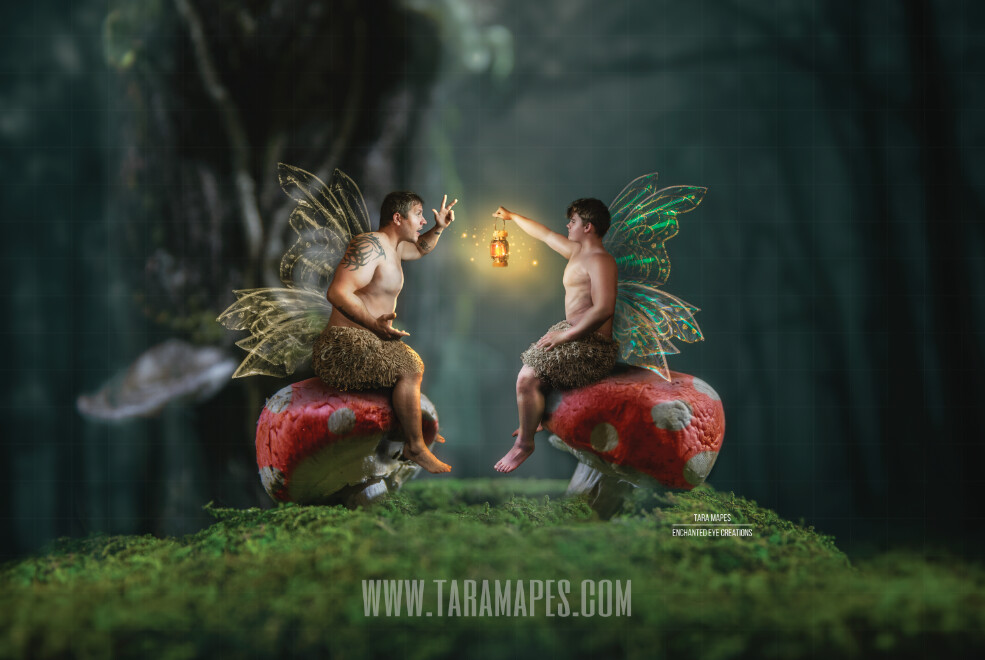 Red Spotted Mushrooms in Enchanted Forest Digital Background / Backdrop for a Fairy Scene