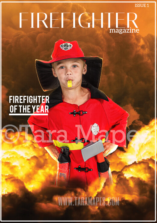 Firefighter Magazine Template Layered PSD - Firefighter Digital Background -  Hero Digital Background Backdrop