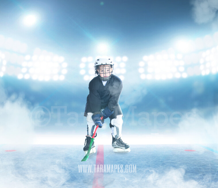 Hockey Rink -Ice Skating Scene - Ice Rink - Digital Background Backdrop by Tara Mapes Enchanted Eye Creations