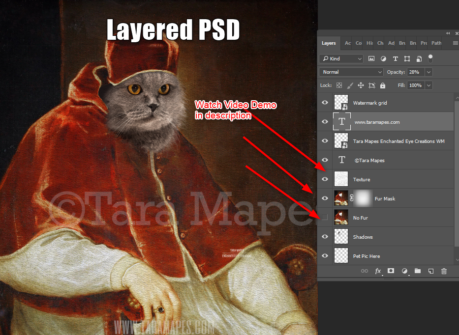 Pet Portrait PSD Template - Pet Painting Portrait Body 89 - Layered PSD  Digital Background Backdrop
