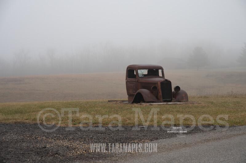 Foggy Truck 1 $1 Digital Background Backdrop