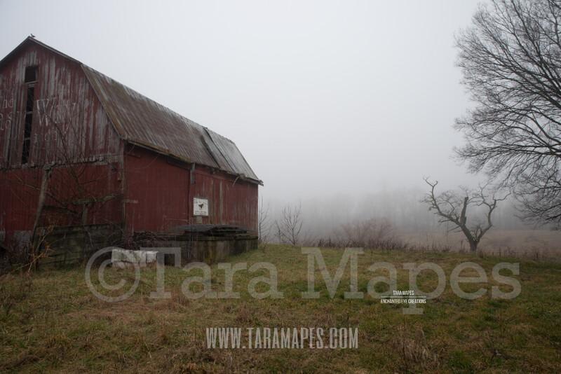 Foggy Barn 1 $1 Digital Background Backdrop