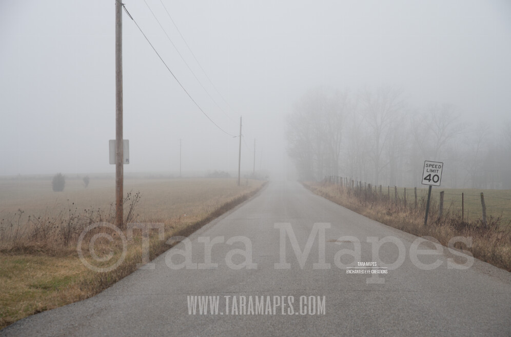Foggy Road 2 $1 Digital Background Backdrop