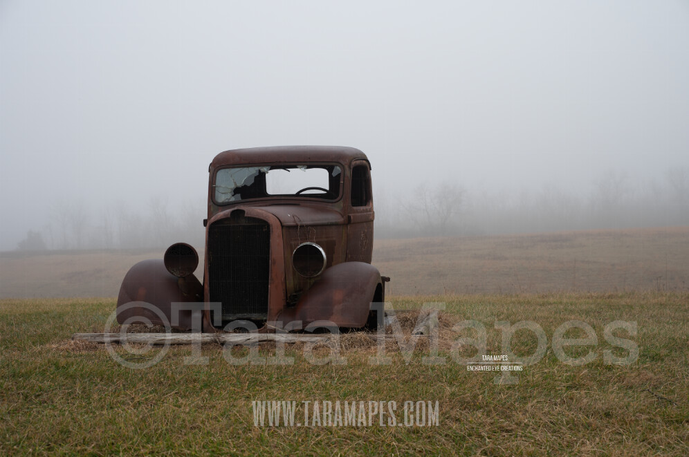 Foggy Truck 5 $1 Digital Background Backdrop