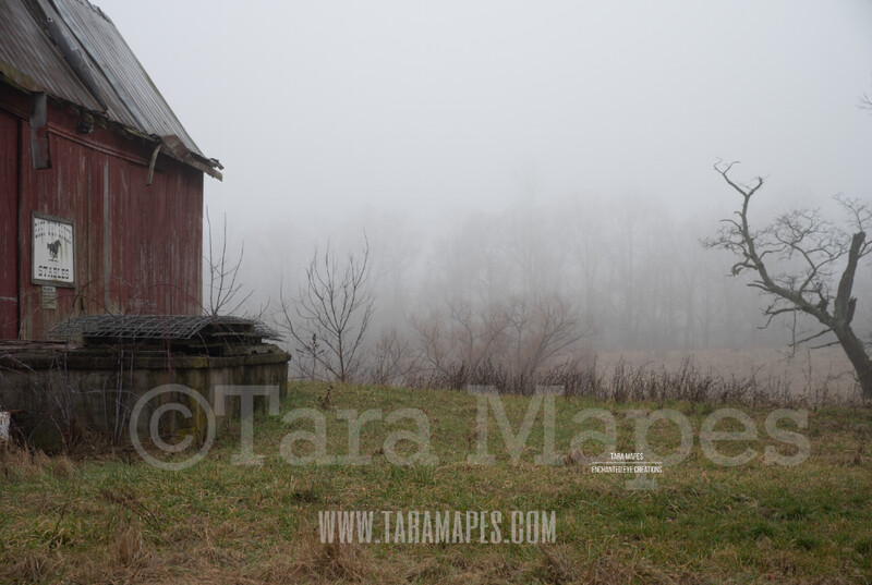 Foggy Barn 2 $1 Digital Background Backdrop