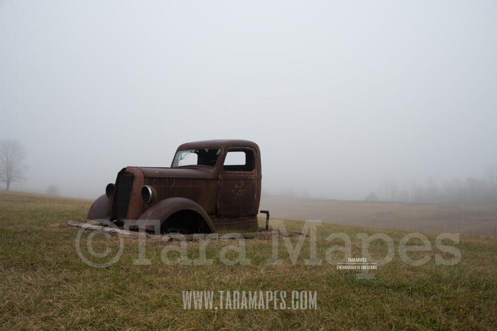 Foggy Truck 6 $1 Digital Background Backdrop