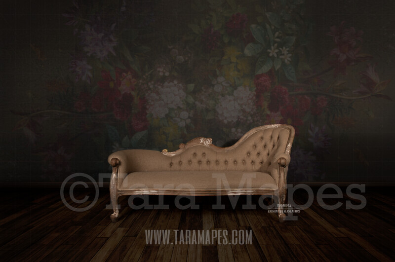 Studio with Chaise / Loveseat Wood Floor and Floral Background Digital Background by Tara Mapes