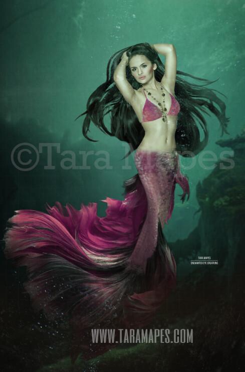 Realistic Dark Mermaid Underwater 4 - Layered PSD Mermaid Digital Background Backdrop - Separate Element Layers -Tail Layer is Separate