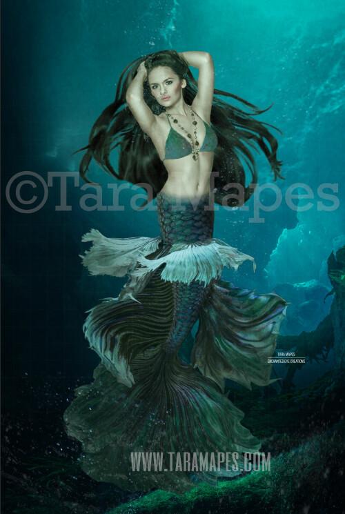 Realistic Dark Mermaid Underwater 5 - Layered PSD Mermaid Digital Background Backdrop - Separate Element Layers -Tail Layer is Separate