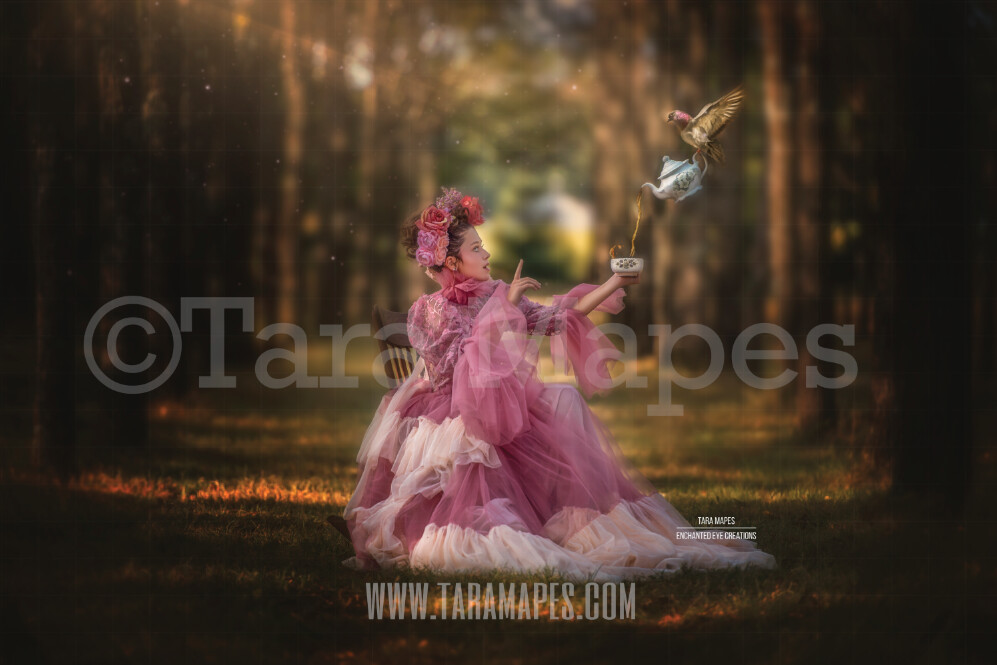Bird Pouring Tea into Cup in Enchanted Forest Corridor of Trees- Creamy Natural Background - Bokeh Digital Background by Tara Mapes